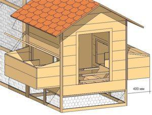 Схема постройки курятника с гнездами