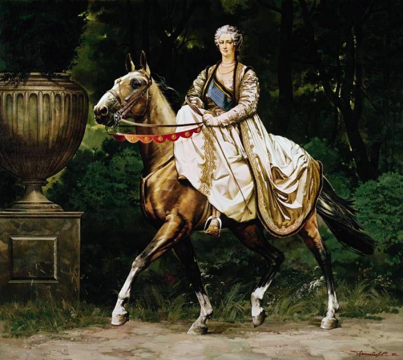Екатерина II верхом на лошади