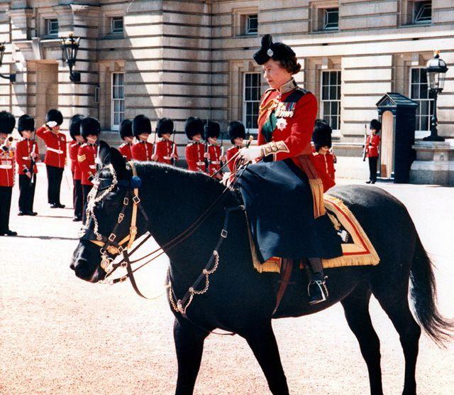 Королева Елизавета II верхом на любимой лошади Бурмис