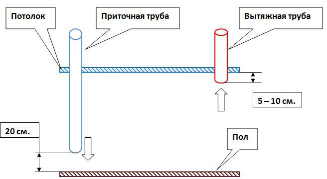 Схема пассивной вентиляции в птичнике.
