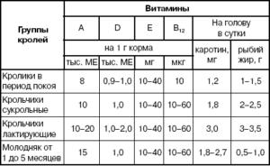 Таблица потребности в витаминах и полезных веществах в разном возрасте