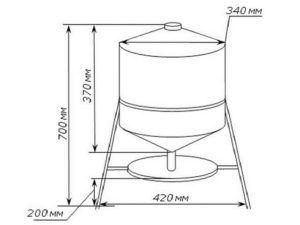 Вид и размеры сифонной (вакуумной) поилки
