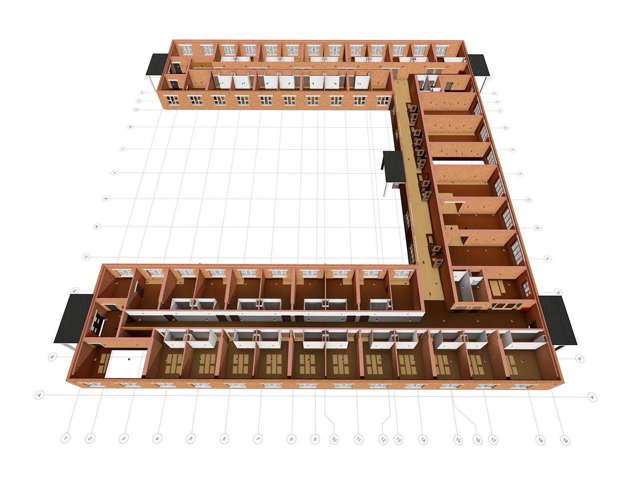 3D вид второго этажа конюшни