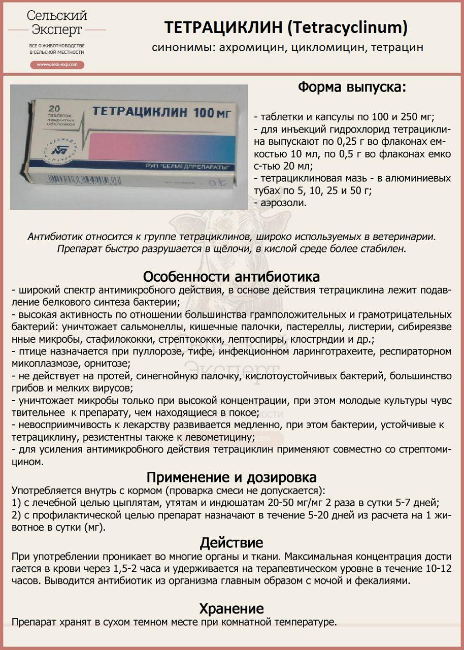 Тетрациклин применяется как профилактическое средство в комплексном лечении ИЛТ