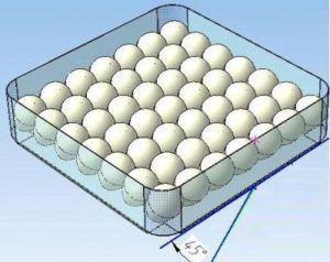 Яйца лучше укладывать под углом в 45 градусов