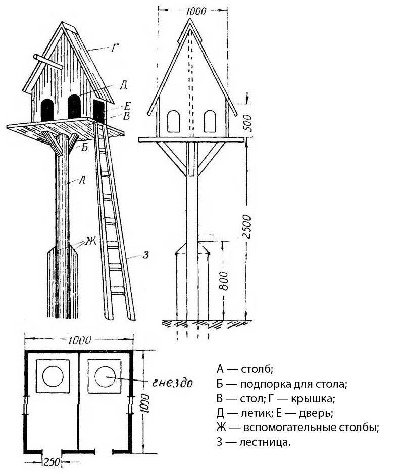 Вариант башенной или столбовой голубятни