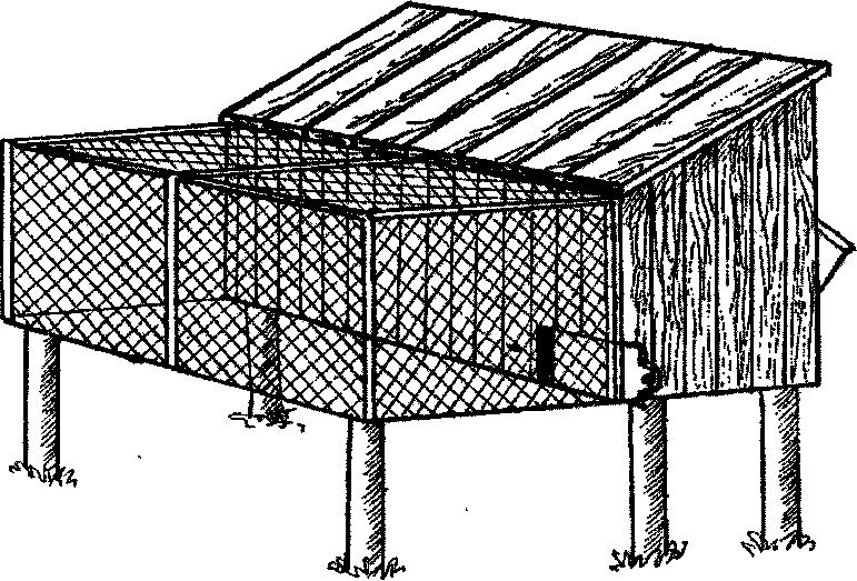 Комбинированная клетка для кролика с выгулом