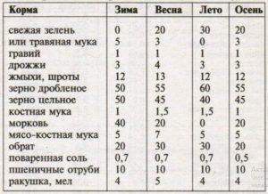Нормы кормов по временам года (в граммах на одну особь в сутки)