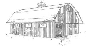 Рисунок конюшни с сеновалом