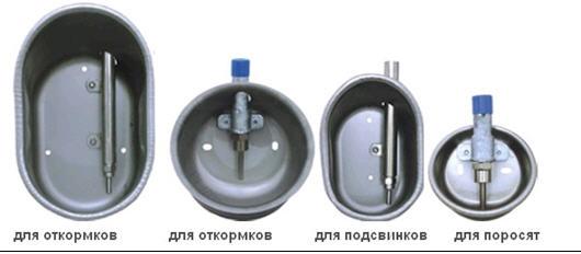 Варианты промышленных чашечных поилок с ниппельной системой подачи влаги