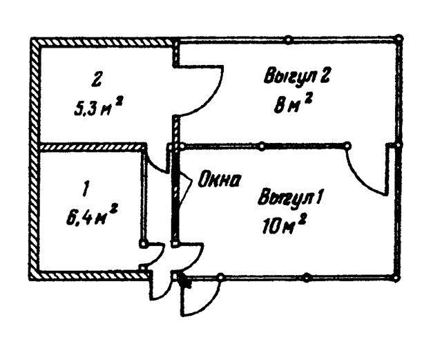 Пример площади свинарника на 2 головы.