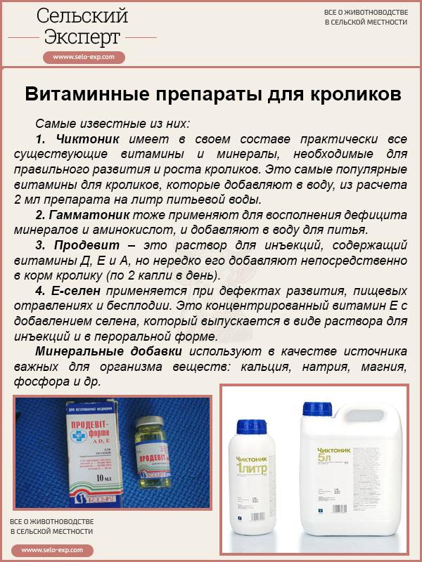 Витаминные препараты для кроликов