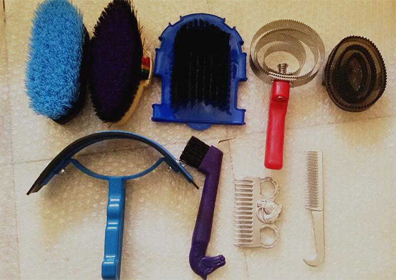 В процессе чистки используют резиновые скребницы, специальные варежки