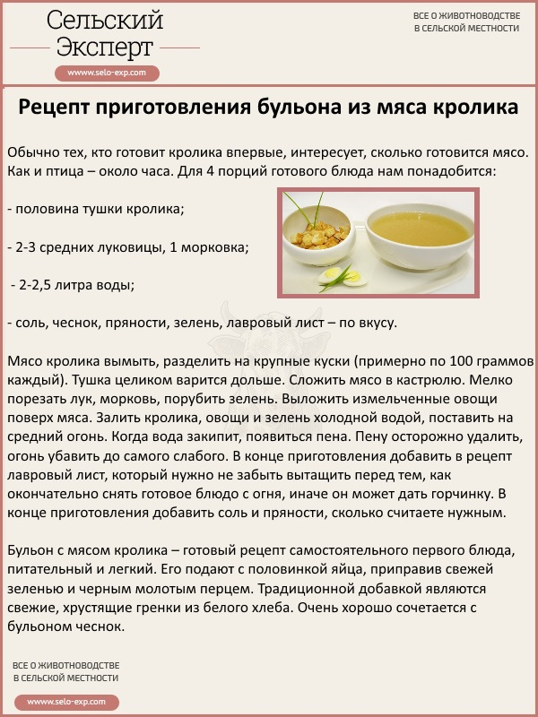 Рецепт приготовления бульона из мяса кролика