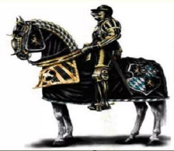 Средневековый рыцарь на коне