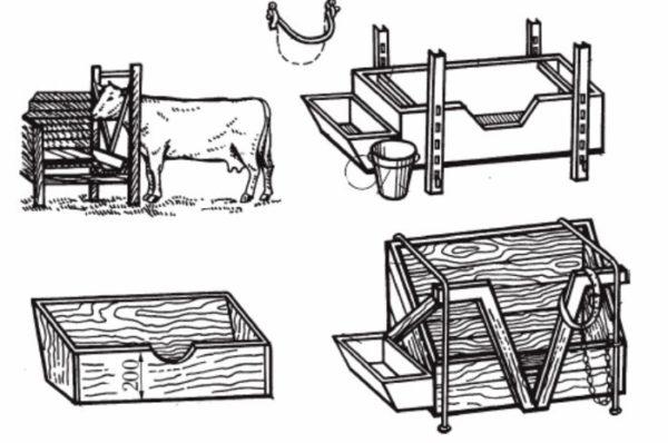 Схема устройства кормушки для коров