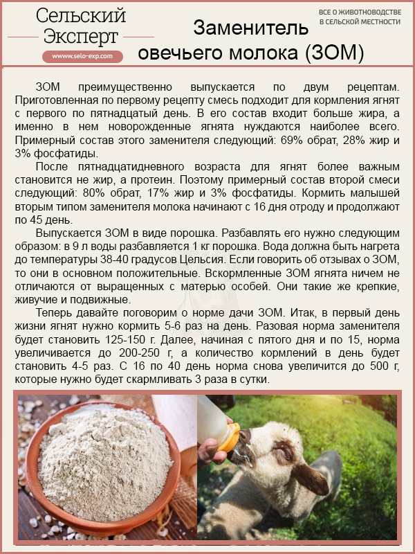 Заменитель овечьего молока (ЗОМ)